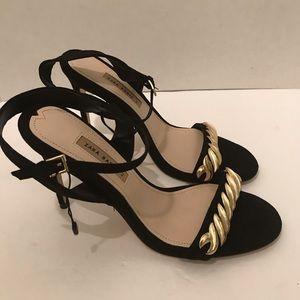 ZARA  Black high-heel Gold chain sandals EU 42(11)